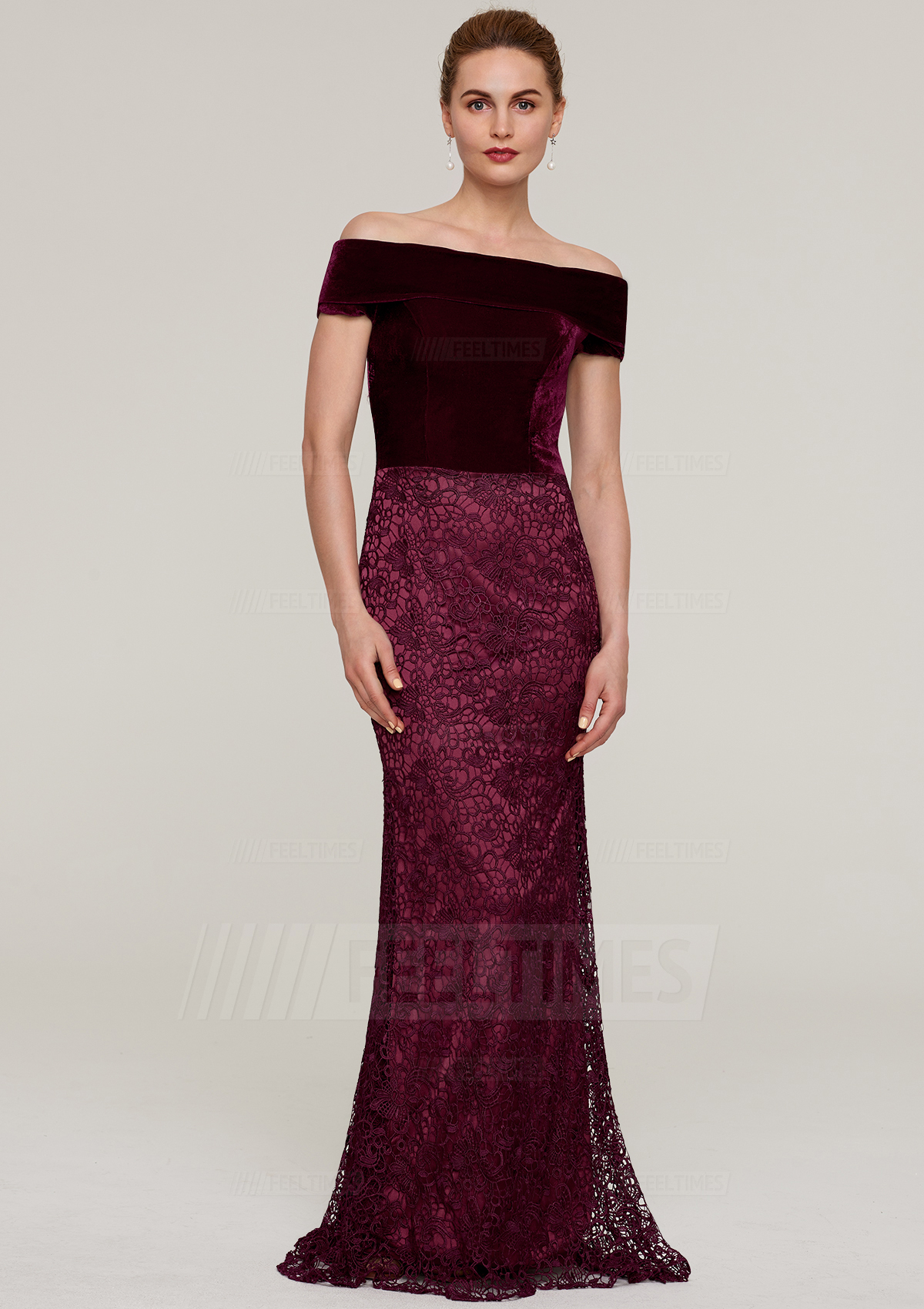 1b985ff4537 Sheath/Column Off-The-Shoulder Sleeveless Sweep Train Lace Mother Of The  Bride Dress - FeelTimes