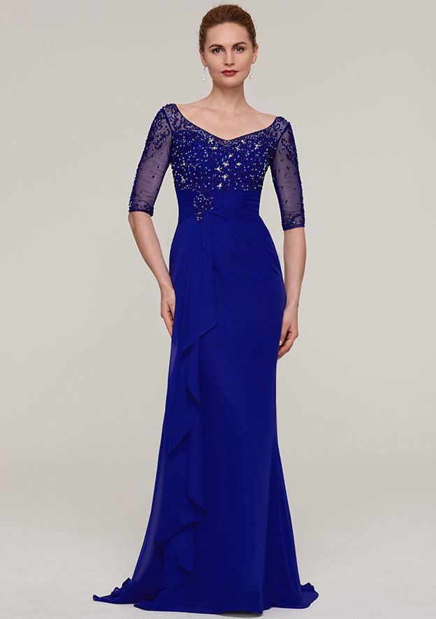 Sheath/Column V Neck Half Sleeve Sweep Train Chiffon Evening Dress With Crystal Detailing Pleated Ruffles