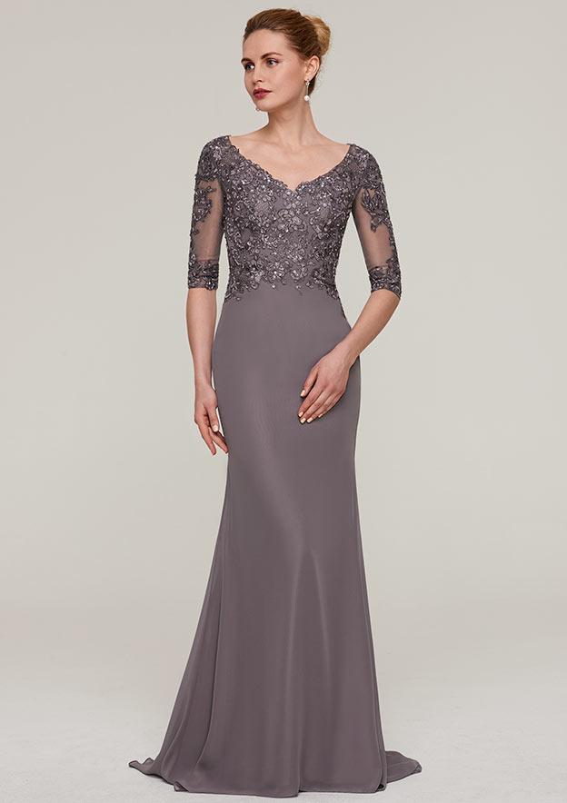 Sheath/Column V Neck Half Sleeve Sweep Train Chiffon Evening Dress With Appliqued Beading