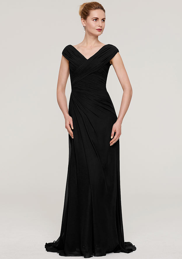 Sheath/Column V Neck Sleeveless Sweep Train Chiffon Evening Dress With Pleated