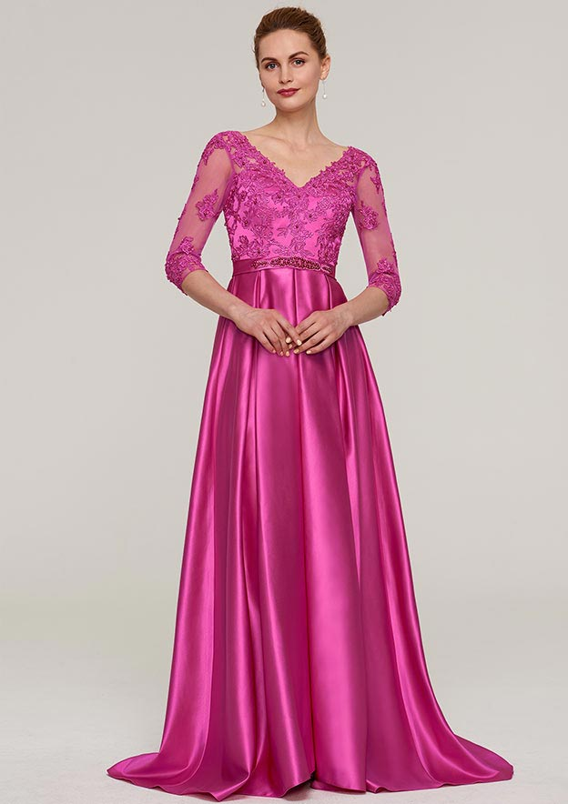 A-Line/Princess V Neck 3/4 Sleeve Sweep Train Charmeuse Evening Dress With Sashes Appliqued Beading
