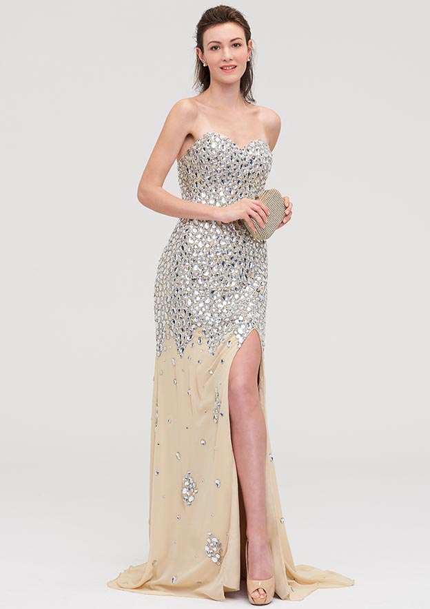 Sheath/Column Sweetheart Sleeveless Court Train Chiffon Evening Dress With Beading