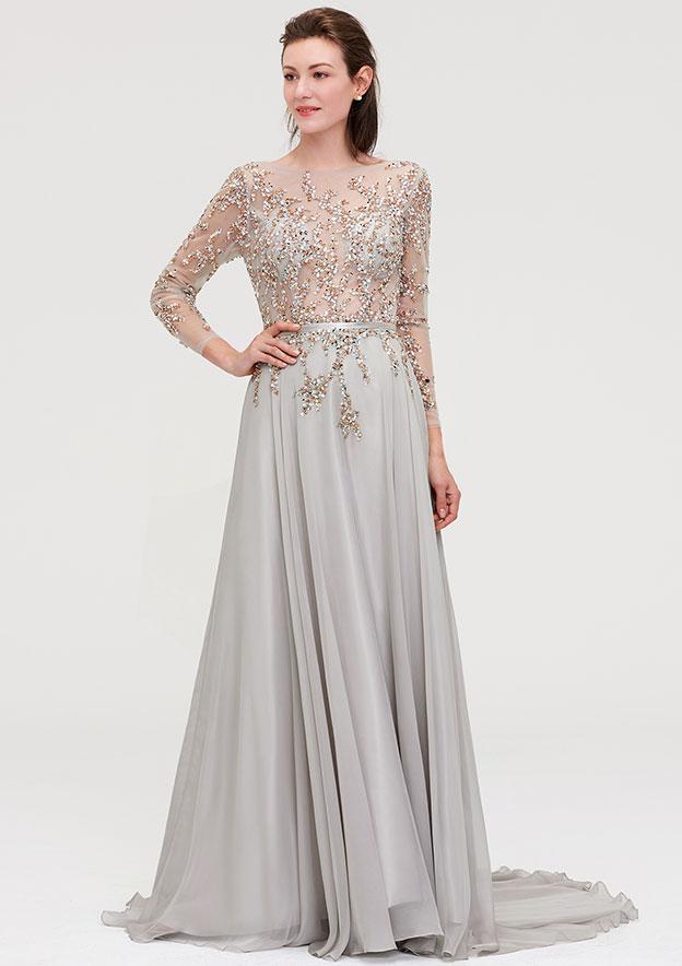 A-Line/Princess Bateau Full/Long Sleeve Court Train Chiffon Prom Dress With Beading