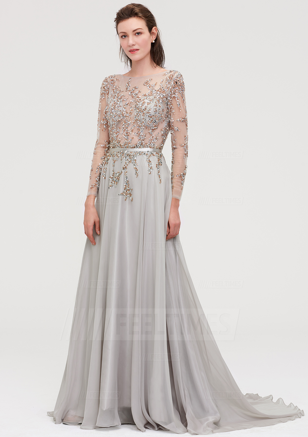 d7eea8753090 A-Line/Princess Bateau Full/Long Sleeve Court Train Chiffon Prom Dress With  Beading