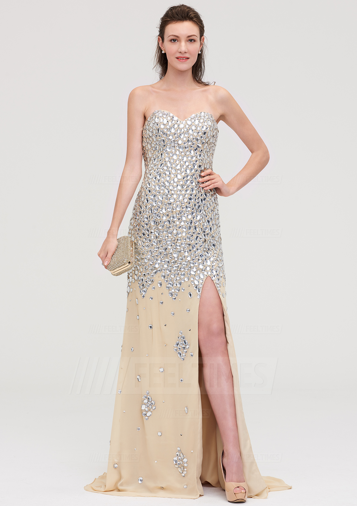 22f85b11a11 Sheath/Column Sweetheart Sleeveless Court Train Chiffon Evening Dress With  Beading