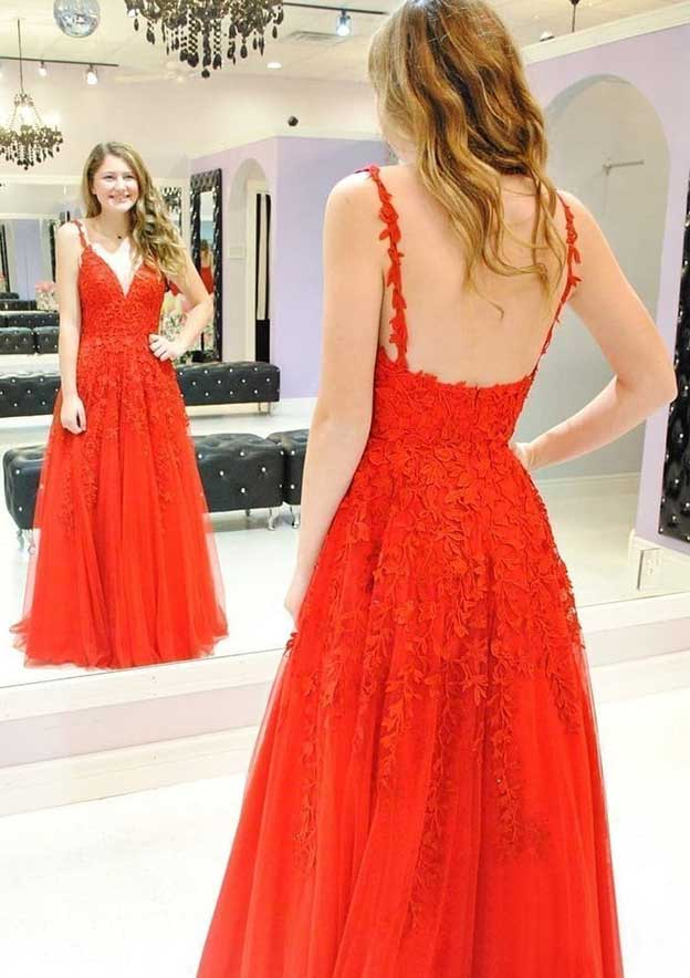 A-Line/Princess V Neck Sleeveless Long/Floor-Length Tulle Prom Dress With Appliqued
