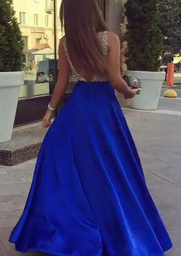 A-Line/Princess V Neck Sleeveless Long/Floor-Length Satin Prom Dress With Sequins