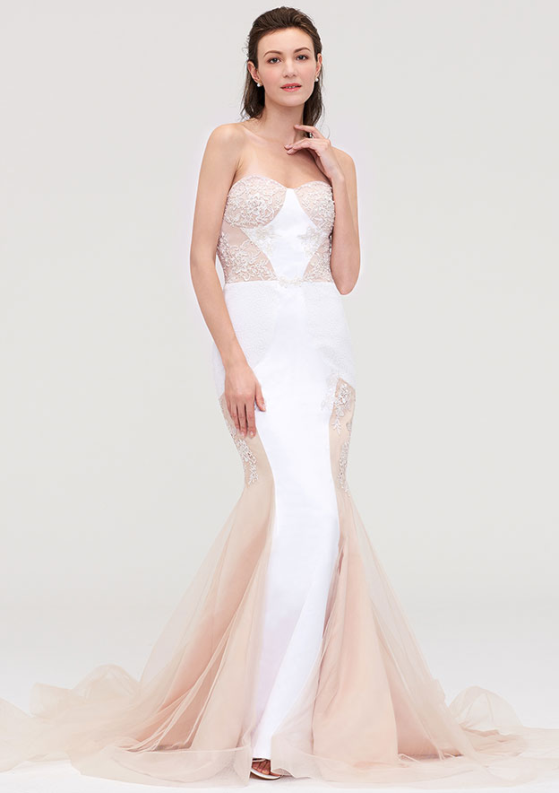 Trumpet/Mermaid Sweetheart Sleeveless Chapel Train Tulle Prom Dress With Lace Appliqued