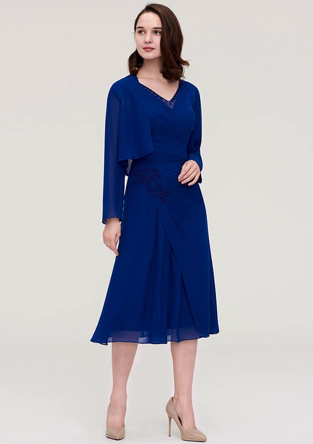 Sheath/Column V Neck Sleeveless Tea-Length Chiffon Mother Of The Bride Dress With Jacket Appliqued Pleated