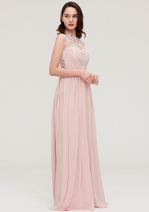 A-Line/Princess Scalloped Neck Sleeveless Long/Floor-Length Chiffon Bridesmaid Dress With Lace