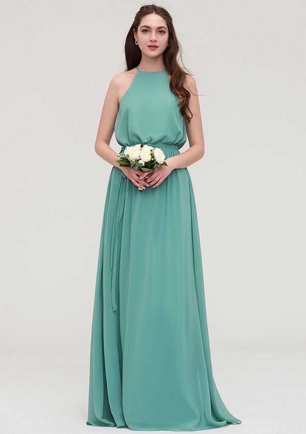 A-line/Princess High-Neck Sleeveless Long/Floor-Length Chiffon Bridesmaid Dress With Sashes