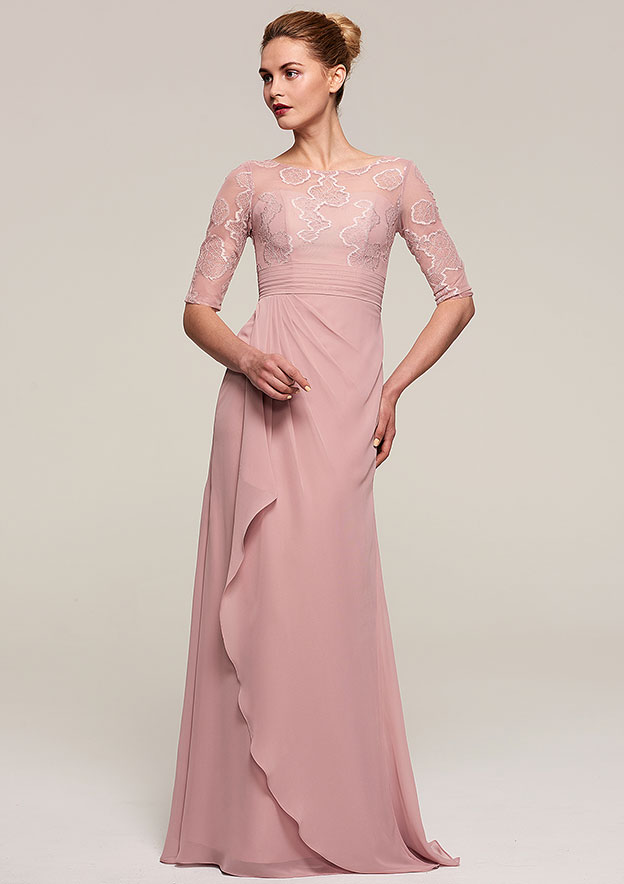 Sheath/Column Bateau Half Sleeve Long/Floor-Length Chiffon Mother Of The Bride Dress With Ruffles Appliqued Pleated