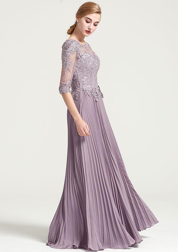 A-Line/Princess Bateau Half Sleeve Long/Floor-Length Chiffon Dress With Pleated Appliqued