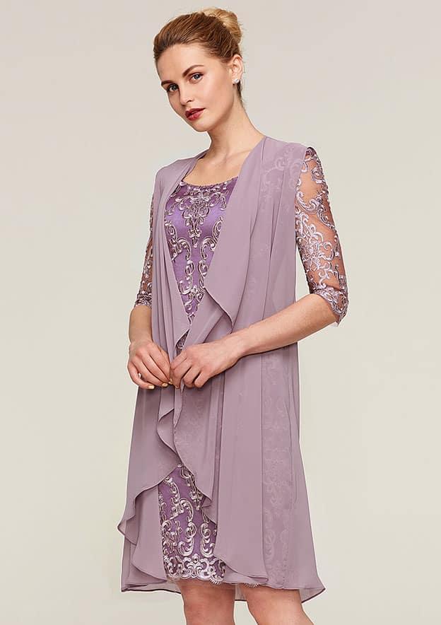 Sheath/Column Bateau Half Sleeve Knee-Length Lace Mother Of The Bride Dress With Jacket