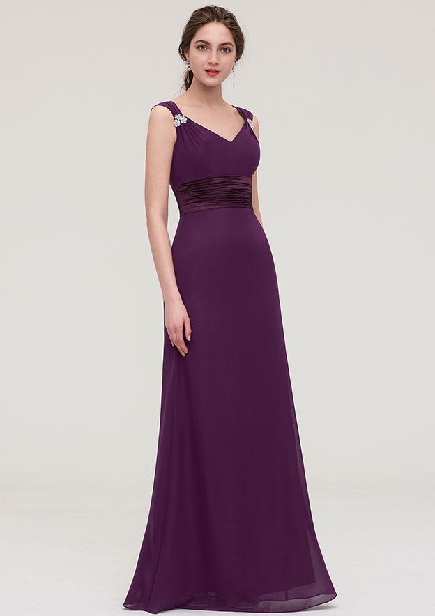 Sheath/Column V Neck Sleeveless Long/Floor-Length Chiffon Bridesmaid Dress With Sashes Beading Pleated