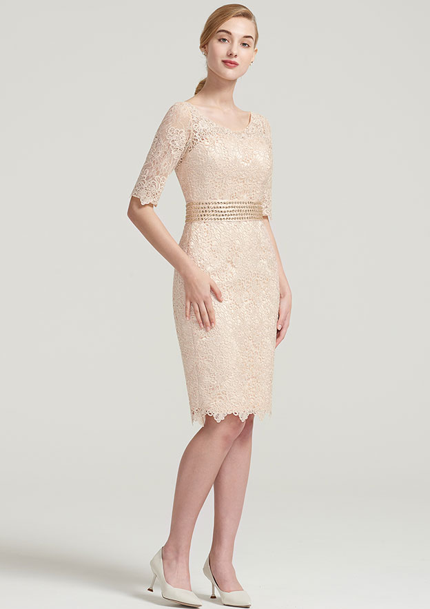 Sheath/Column Bateau 3/4 Sleeve Knee-Length Lace Satin Mother Of The Bride Dress With Jacket Beading