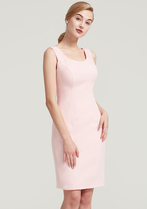 Sheath/Column Scoop Neck Sleeveless Knee-Length Elastic Satin Mother Of The Bride Dress With Lace Jacket