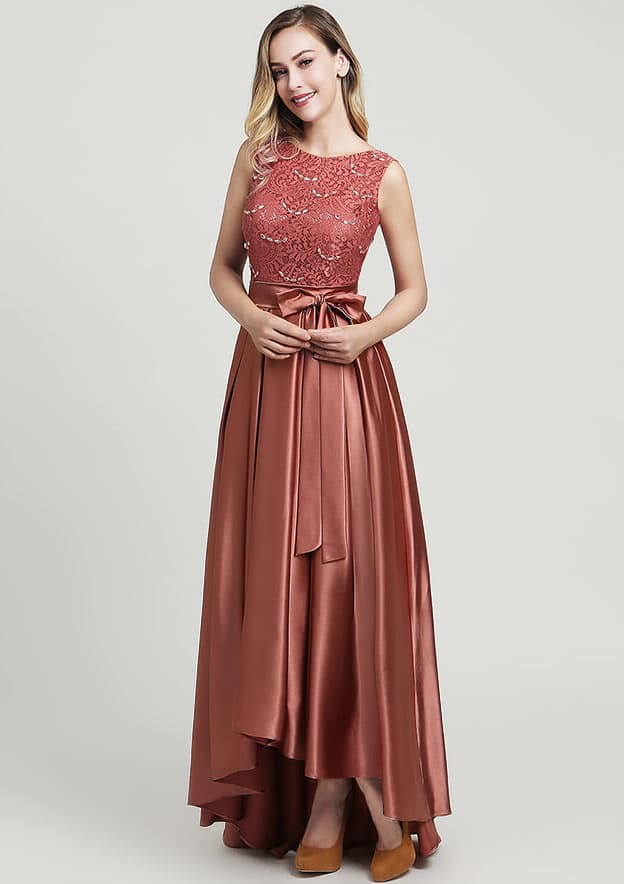A-line/Princess Bateau Sleeveless Ankle-Length Satin Mother of the Bride Dress With Waistband Beading Lace Ruffles