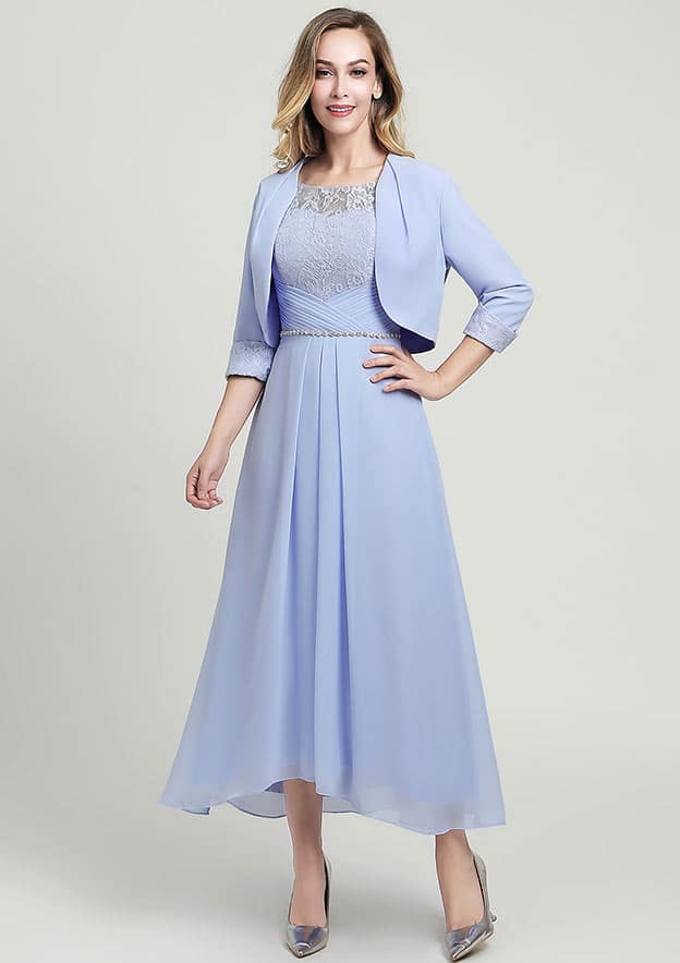 A-line/Princess Scoop Neck Half Sleeve Asymmetrical Chiffon Mother of the Bride Dress With Jacket Beading Lace Pleated