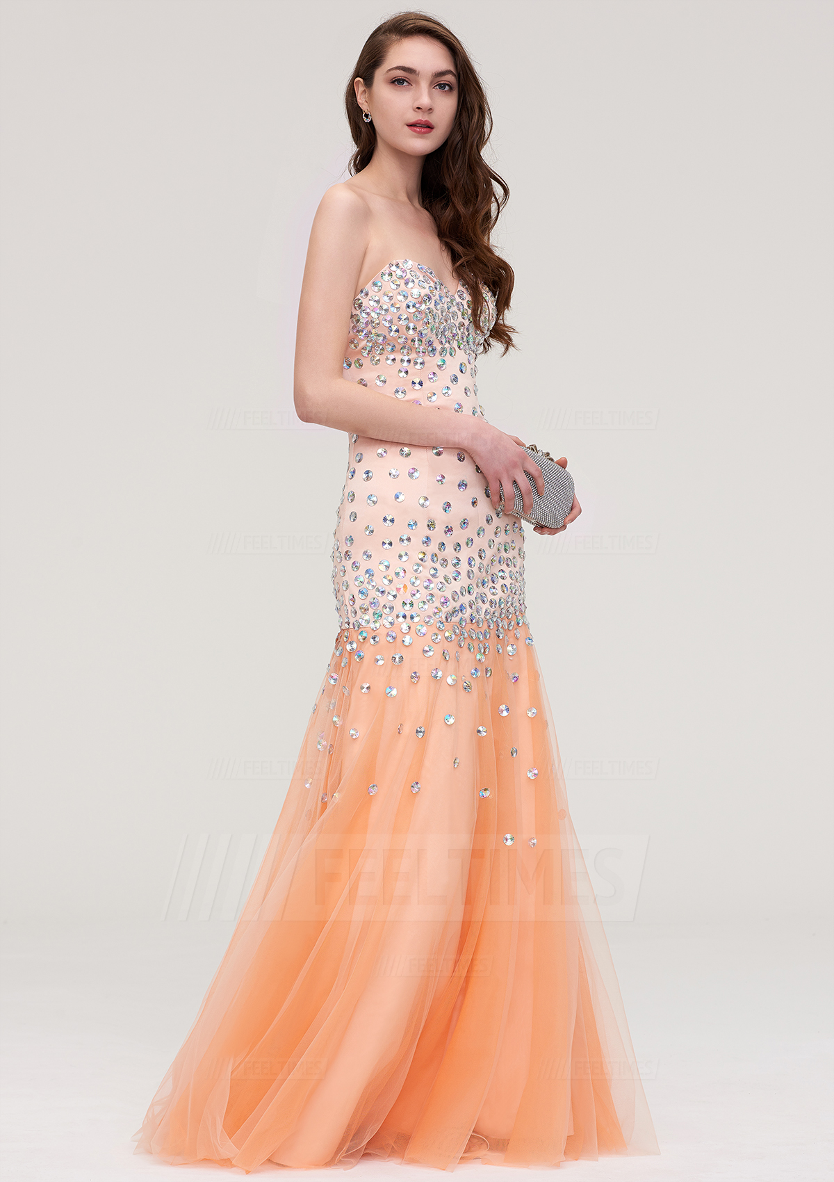 A-line/Princess Strapless Sleeveless Long/Floor-Length Tulle Prom Dress With Crystal Beading