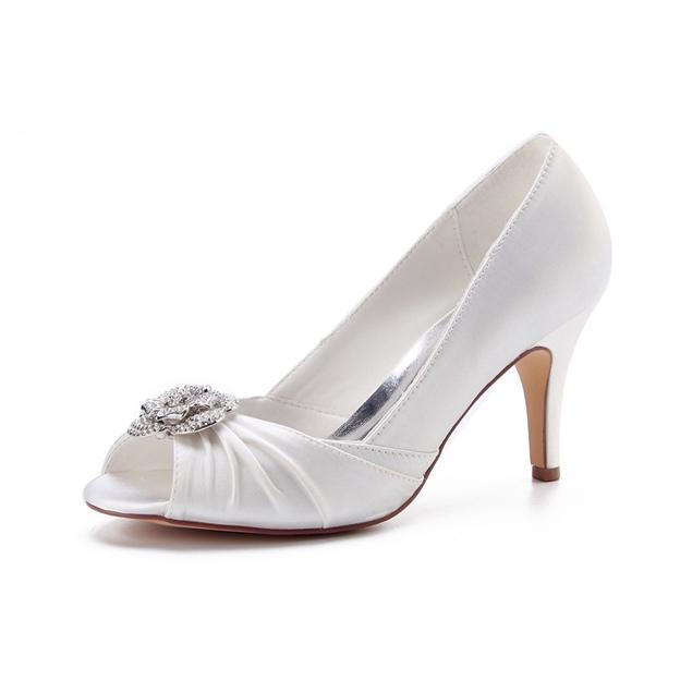 Women's Satin With Rhinestone Heels Peep Toe Wedding Shoes