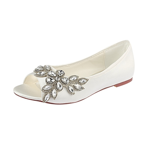 Women's Satin With Rhinestone Flats Peep Toe Wedding Shoes