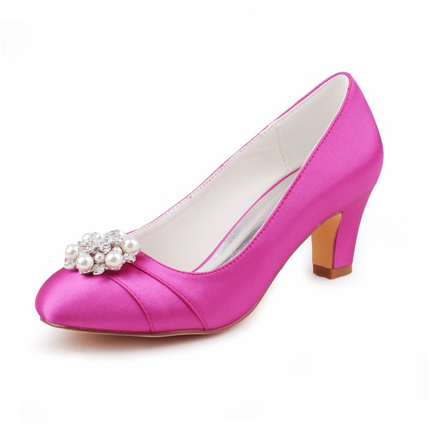 Women's Satin With Rhinestone/Pleated/Imitation Pearl Heels Close Toe Wedding Shoes