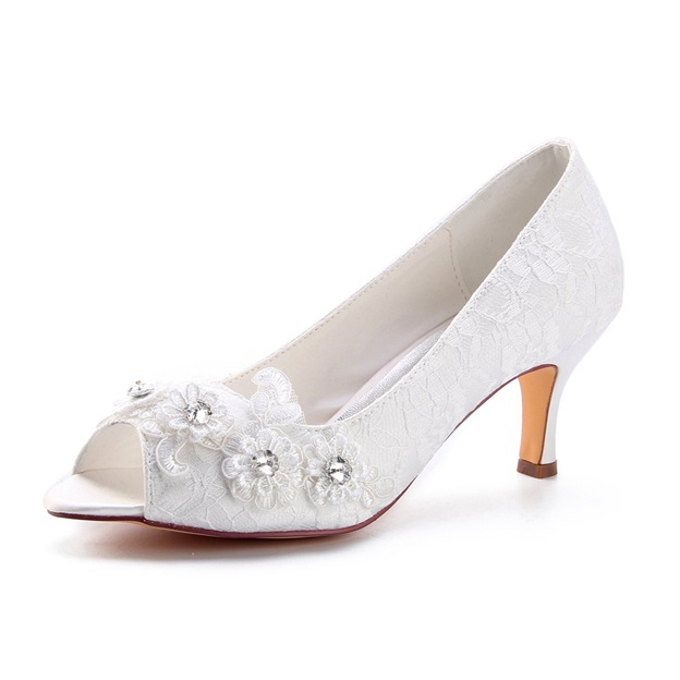 Women's Lace With Rhinestone/Appliqued Peep Toe Heels Wedding Shoes