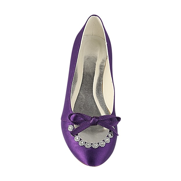 Women's Satin With Rhinestone/Bowknot Close Toe Flats Wedding Shoes