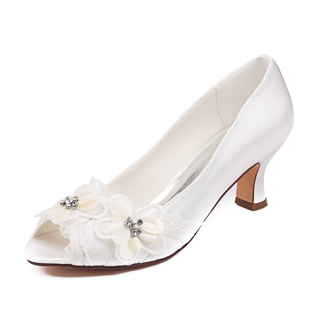 Women's Satin With Rhinestone/Flowers Peep Toe Heels Wedding Shoes