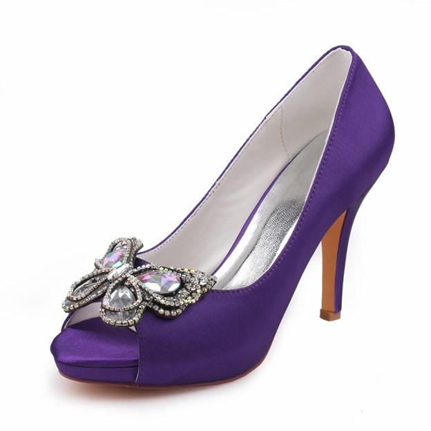 Women's Satin With Rhinestone/Bowknot Peep Toe Heels Wedding Shoes