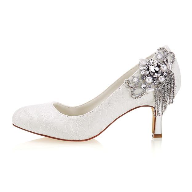 Women's Lace With Rhinestone/Imitation Pearl Heels Close Toe Wedding Shoes