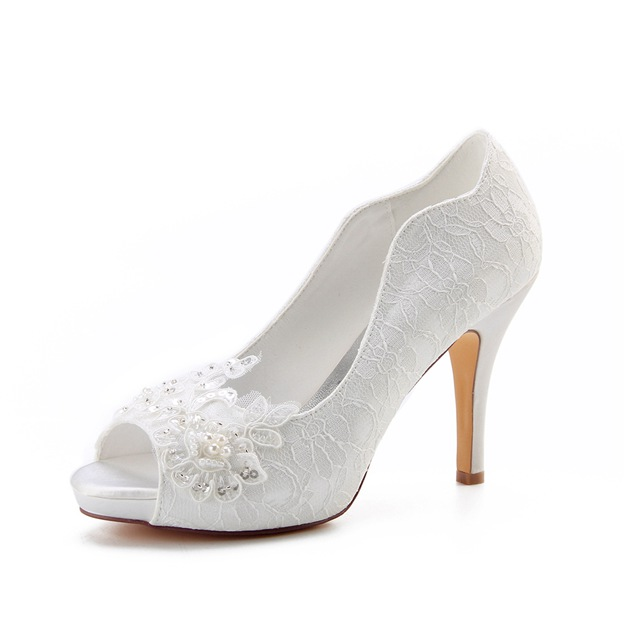 Women's Lace With Sequins/Appliqued Peep Toe Heels Wedding Shoes