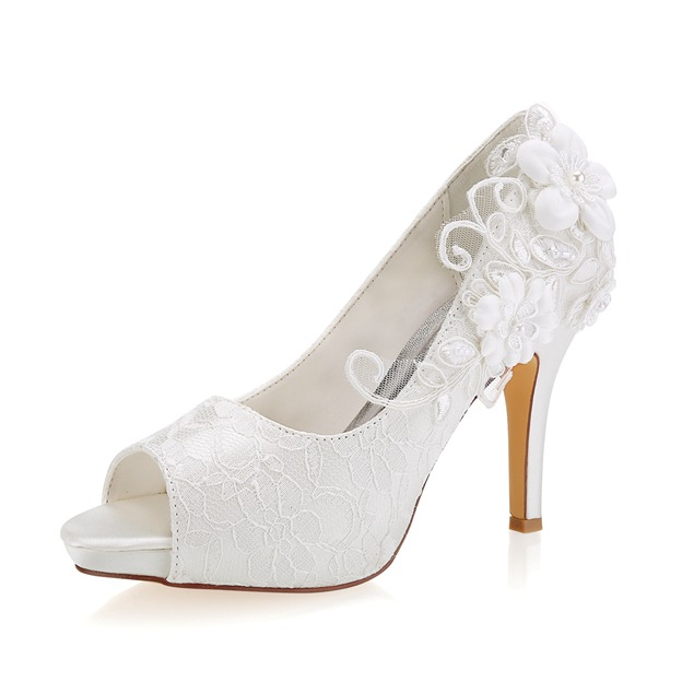 Women's Lace With Appliqued Heels Peep Toe Wedding Shoes