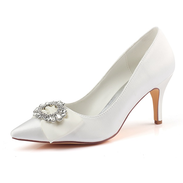Women's Satin With Rhinestone/Bowknot Heels Close Toe Wedding Shoes