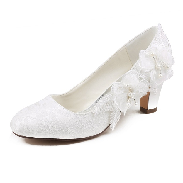 Women's Lace With Beaded/Appliqued Heels Close Toe Wedding Shoes