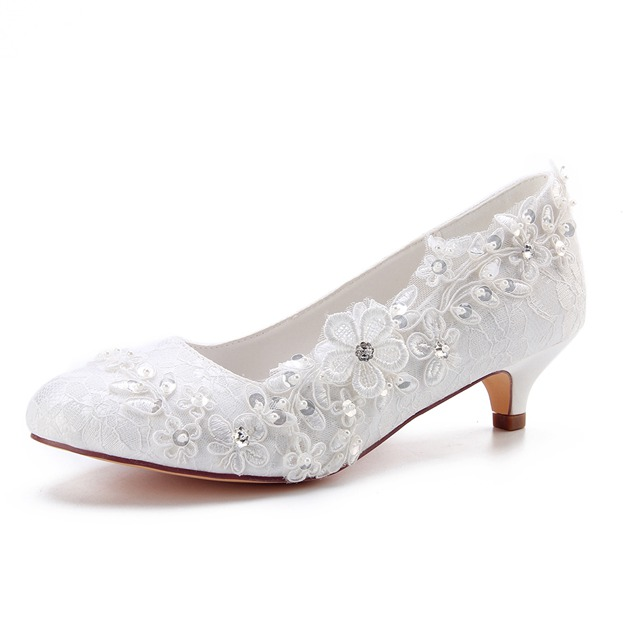 Women's Lace With Sequins/Appliqued Heels Pumps Close Toe Wedding Shoes