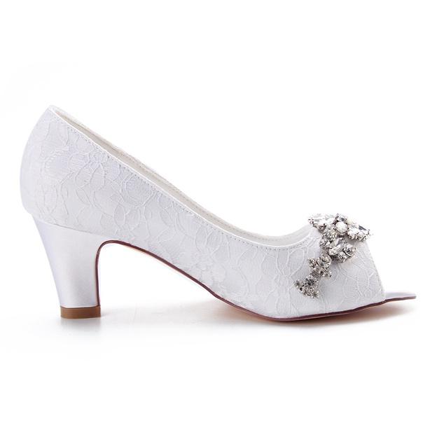 Women's Lace With Rhinestone Heels Peep Toe Wedding Shoes