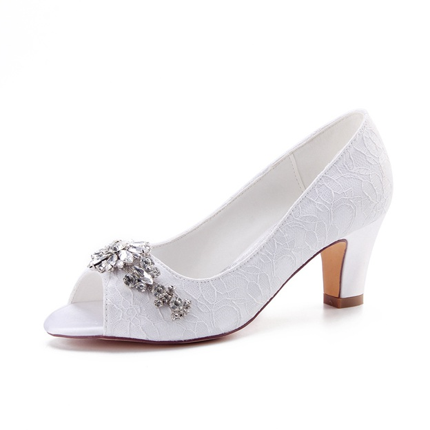 Women's Lace With Rhinestone Heels Peep Toe Wedding Shoes