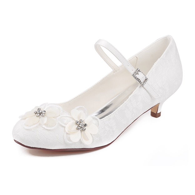 Women's Lace With Rhinestone/Flowers/Buckle Close Toe Wedding Shoes