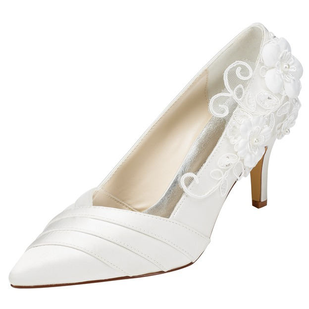 Women's Satin With Imitation Pearl/Appliqued Heels Pumps Close Toe Wedding Shoes