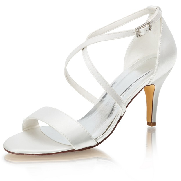 Women's Satin With Buckle Heels Peep Toe Wedding Shoes