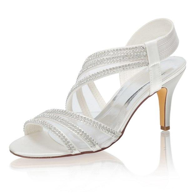 Women's Satin With Rhinestone Heels SlingBacks Peep Toe Wedding Shoes
