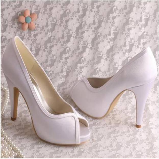 Women's Satin Heels Pumps Peep Toe Wedding Shoes