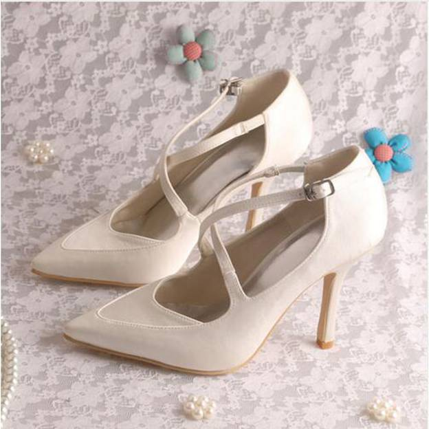 Women's Satin With Buckle Close Toe Heels Pumps Wedding Shoes