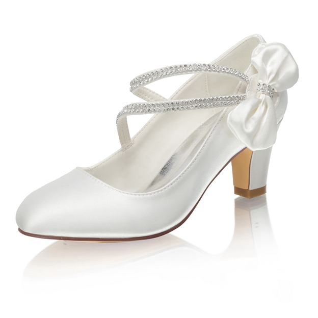 Women's Satin With Rhinestone/Bowknot Heels Close Toe Wedding Shoes