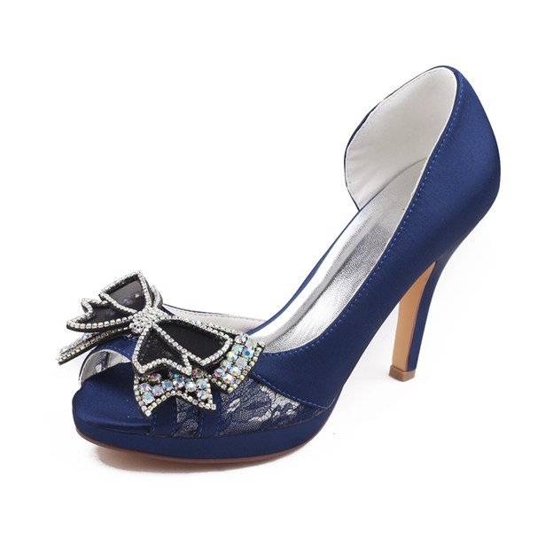 Women's Satin With Rhinestone/Bowknot Peep Toe Heels Wedding Shoes