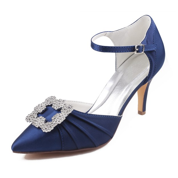 Women's Satin With Rhinestone/Pleated/Buckle Heels Close Toe Wedding Shoes