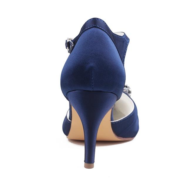 Women's Satin With Rhinestone/Pleated/Buckle Heels Close Toe Wedding Shoes