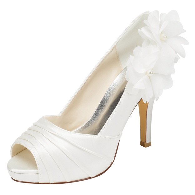 Women's Satin With Pleated/Flowers/Beading Pumps Peep Toe Heels Wedding Shoes